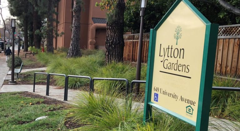 The sign outside of Lytton Gardens