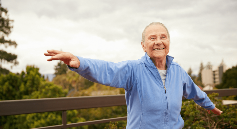 A resident exercising outside