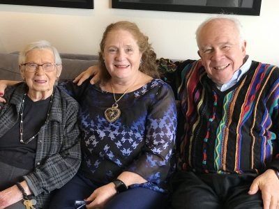 Three residents smiling