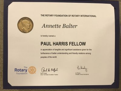 Award showing the Covia Director of Senior Resources honored by Rotary