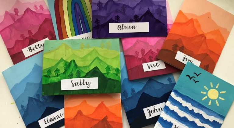 hand painted cards with names on them