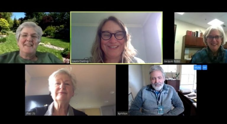 A group of Covia employees on a video call