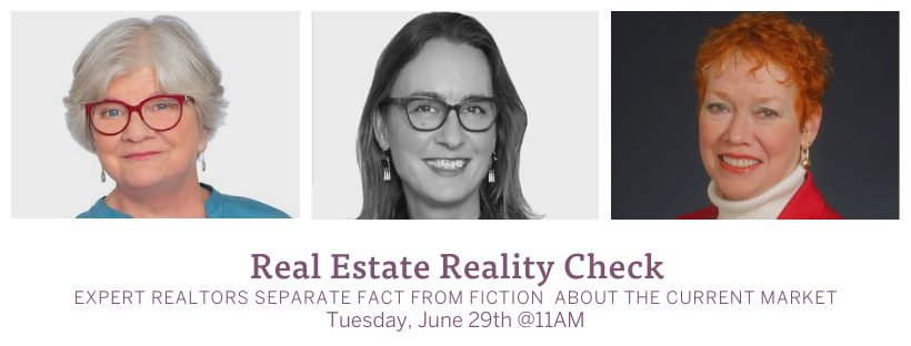 Three headshots of the speakers for the Real Estate Reality Check