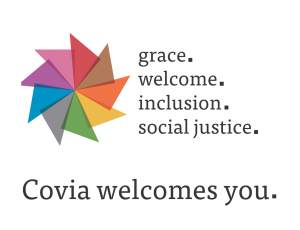 Covia inclusivity logo: grace. welcome. inclusion. social justice. Covia welcomes you.