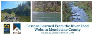 Three images of a river over the event title 'Lessons Learned from the River Food Webs in Mendocino County'